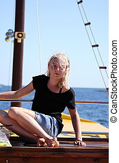 girl on boat deck