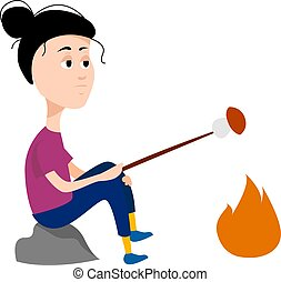 Girl on campfire, illustration, vector on white background.