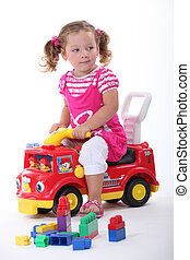 Girl on fire engine
