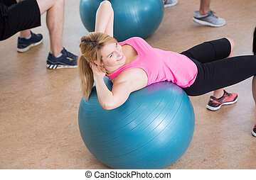 Girl on fitness ball