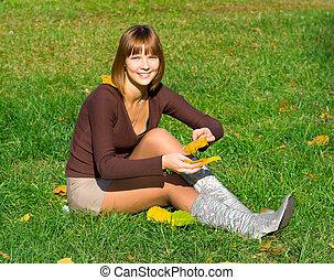 girl on green grass 2