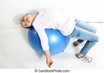 girl on gym ball
