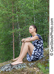 girl on holiday in the forest