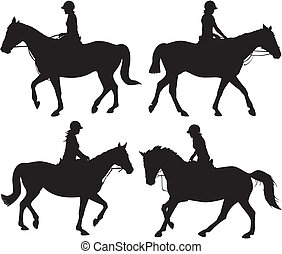 girl on horseback - vector icon - horses in action - black &...