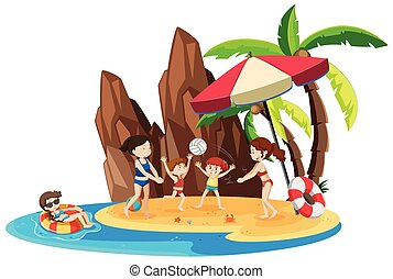 Girl on island vacation
