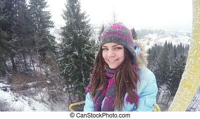 Girl on lift winter