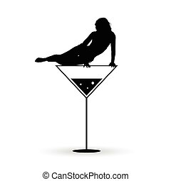 girl on martini black vector silhouette