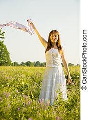 girl on meadow  grass