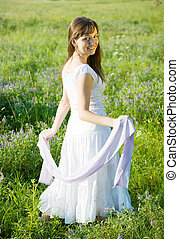 girl on meadow grass