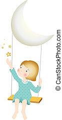 Girl on Moon Swings
