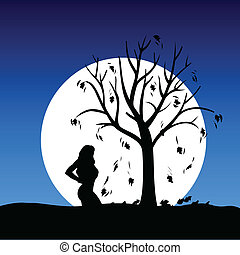 girl on moonlight color vector