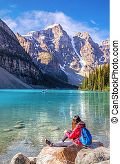 Girl on Moraine Lake in the Canadian Rockies of Banff National Park