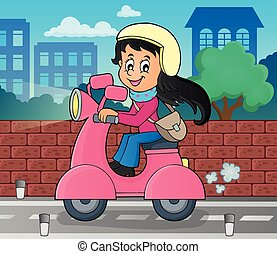 Girl on motor scooter theme image 2