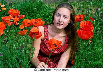 girl on poppies field