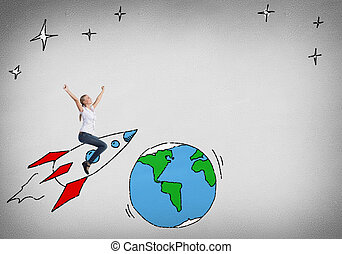 Girl on rocket - Young happy student girl riding drawing...