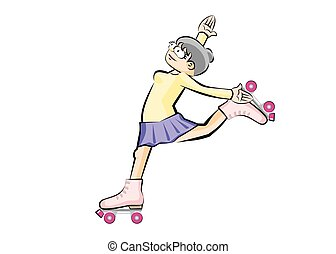 Girl on roller skates isolated