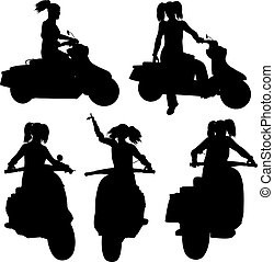 Silhouettes of a girl with ponytails riding a scooter