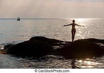 Girl on sea