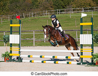 Girl on showjumping competition