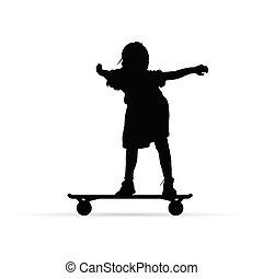 girl on skateboard silhouette