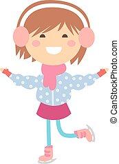 Girl on skates vector illustration.