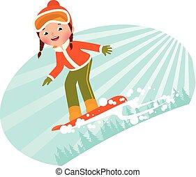 Girl on snowboard