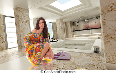Beautiful girl in a luxurious marble spa