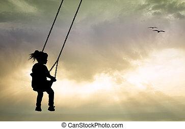 Girl on swing at sunset - illustration of girl on swing at...