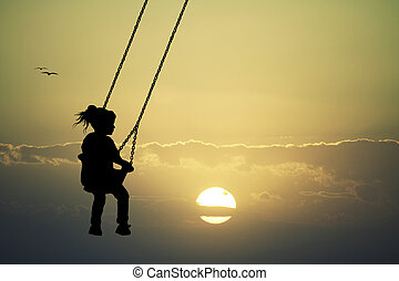 Girl on swing at sunset - illustration of girl on swing at ...