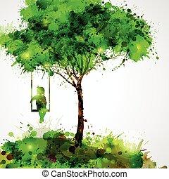 girl on swing - Summer green tree. Dreaming girl on swing.