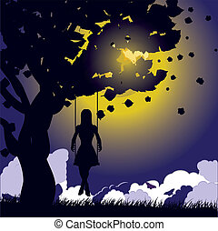 Girl on swing silhouette at night