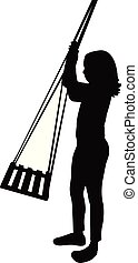 girl on swing, silhouette vector