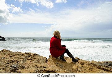 Girl on the Atlantic coast