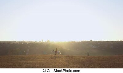 Girl on the background of a landscape on horseback in the...