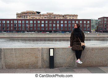 Girl on the bank of Moskva-river