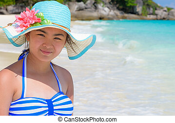 Girl on the beach at Thailand