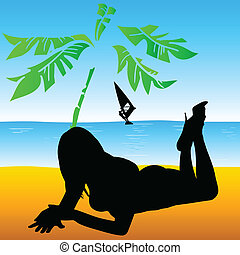 girl on the beach black vector