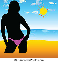 girl on the beach color vector illustration
