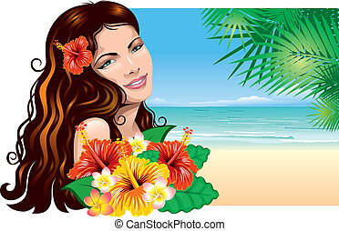 Girl on the beach - Pretty young woman with tropical flowers...