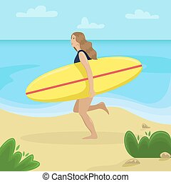 Girl on the beach in a swimsuit running with a surf in her hands. Flat vector illustration. Beach landscape.