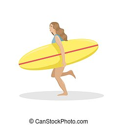 Girl on the beach in a swimsuit running with a surf in her hands. Flat vector illustration.