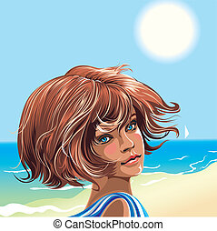 Girl on the beach looking over shoulder, editable vector...