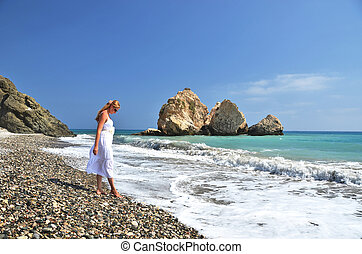 Girl on the beach near Aphrodite birthplace, Cyprus