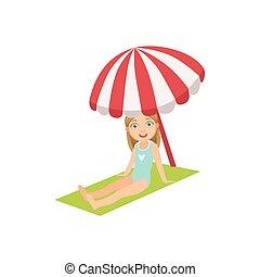 Girl On The Beach Sitting Under Umbrella
