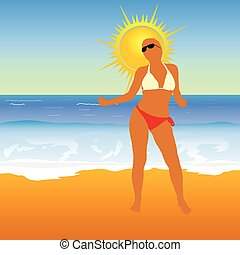 girl on the beach vector illustration