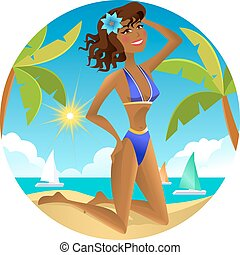 Girl on the beach. Vector illustration.