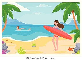 girl on the beach with a surfboard