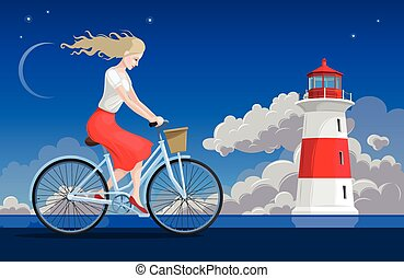 Girl on the bicycle and lighthouse
