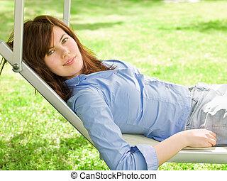 Girl On The Deckchair