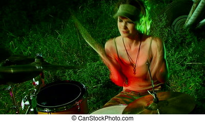 Girl on the drums - Beautiful girl plays drums.